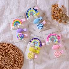 3Pcs Kinderen Regenboog Lolly Haar Clip Meisje Clip Haar Accessoires Eendenbek Clip Baby Leuke Fashion Bb Clip hoofddeksels