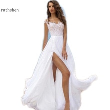 Plage robe De mariée 2019 Vestidos De Novia Sexy fente en mousseline De soie Boho robes De mariée en dentelle Vestido De Casamento avec mancherons