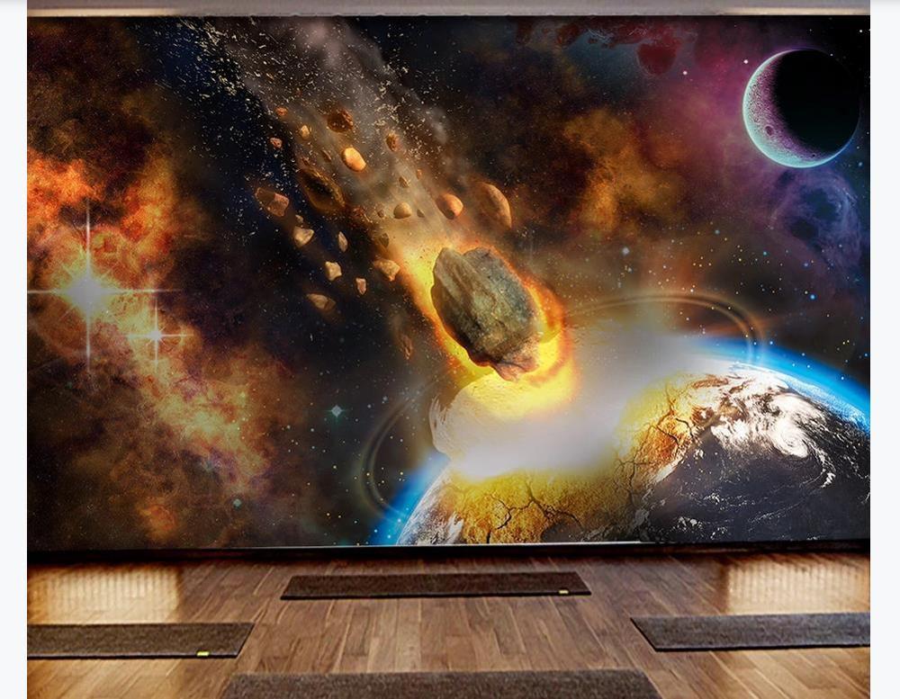 Papel pintado de Arte de Mural personalizado, universo amplio, tierra, cometa, meteorito, papel tapiz para sala de estar, dormitorio, papel de pared, decoración del hogar