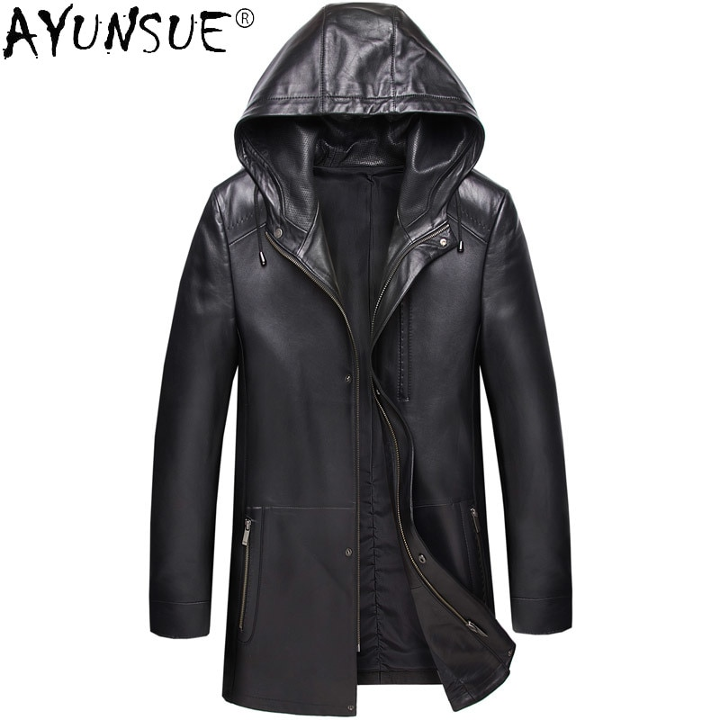 AYUNSUE-سترة جلدية للرجال ، معطف شتوي من جلد الغنم ، سميك ، مقاس كبير 8XL ، LXR326