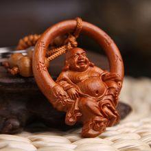 Vintage main gravure acajou gros ventre bouddha bois porte-clés porte-clés porte-clés bijoux accessoires