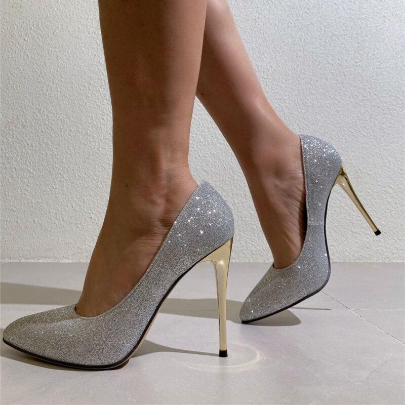 Женские блестящие туфли-лодочки женские, сексуальные блестящие однотонные туфли-лодочки с острым носком на высоком каблуке-шпильке, свадеб... туфли блестящие с цветочком темно синий