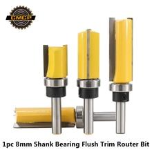 1 adet 8mm Shank rulman gömme Trim yönlendirici Bit için ahşap Tungsten karbür End Mill 20/25/38/50mm ağaç İşleme freze kesicisi