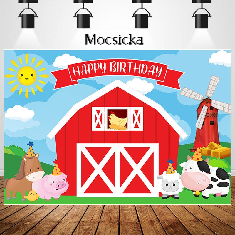 MOCSICKA Farm Theme Birthday Backdrop Red Barn Animal Decorations Children Birthday Party Dessert Table Photographic Props
