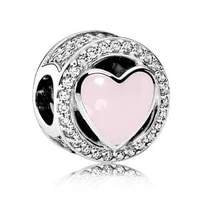 genuine 925 sterling silver bead charm pink openwork wonderful love with crystal beads fit women pan bracelet necklace je
