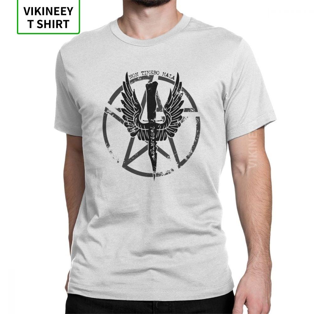 Camiseta sobrenatural con diseño de demonio cazador Crest, camisetas novedosas para hombre, camisetas de manga corta, camisetas 100% de algodón con cuello redondo
