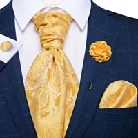 classic wedding ascot tie for men yellow gold red paisley floral scarf silk neck tie brooch pin set cravat ascot tie for banquet