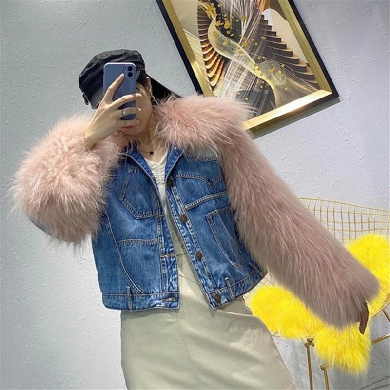 coats and jackets women 2021 real fur plus cotton short jeans coat ladies raccoon sleeve blue denim jacket