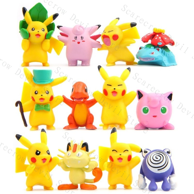 12 шт./компл. куклы покемон аниме фигурки Пикачу чармандер модели кавайные модные экшн-игрушки для детей милые украшения