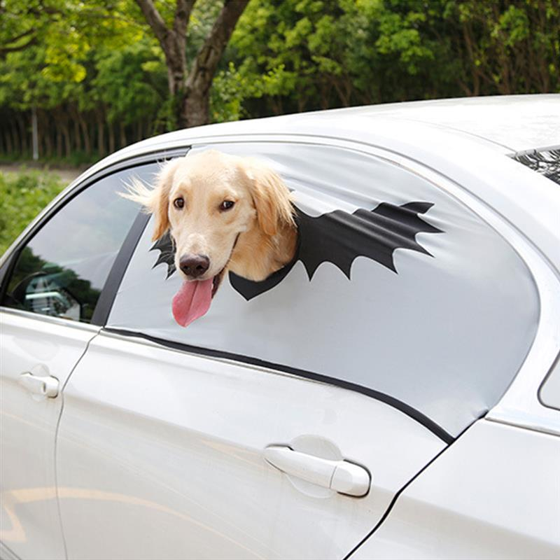 Halloween Car Window Curtain Sunshade Cover Pet Seat Window Shade Cover Safety Guard Fence Window Cover With A Hole For Pet Dog