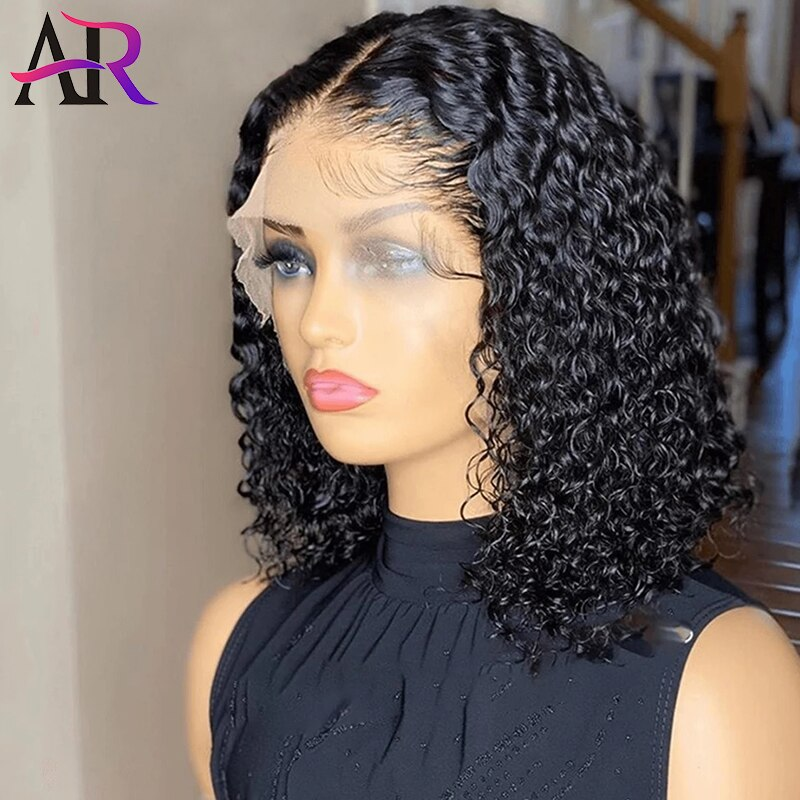 Water Wave Short Bob Wigs 13x1 T Part Lace Front Wigs Remy Brazilian Curly Human Hair Wigs For Women 16 Inch Bob Wig Pre Plucked