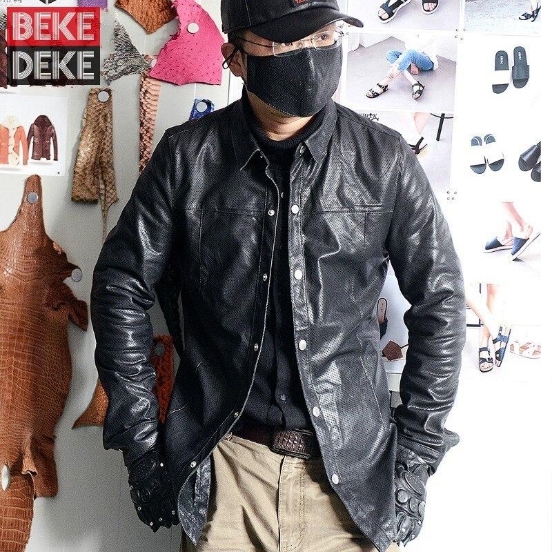 الفاخرة الرجال جلد طبيعي قميص مصمم الجوف خارج جلد الغنم سترة عادية طويلة الأكمام واحدة الصدر قمصان كبيرة الحجم