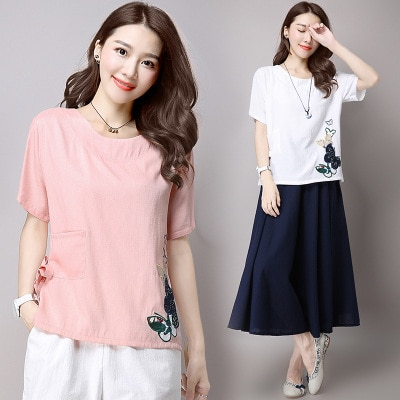 Shirt T White Women Shirts Tops Tee Shirt femme Vogue T Shirt Vs Pink Mothers Day Embroidery Folk-Custom Groot KJ066 s ops ee