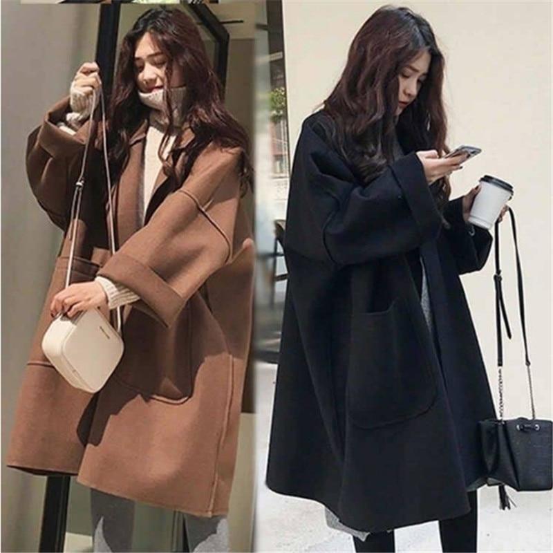 Casaco de lã de inverno feminino plus size coreano longo jaqueta quente preto trench coat elegante casaco de lã cashmere vintage casaco de lã capa