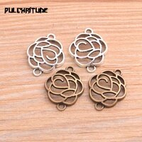 pulchritude 16pcs 1824mm two color 2020 new plant hollow flower connectors plated pendants jewelry making diy handmade craft