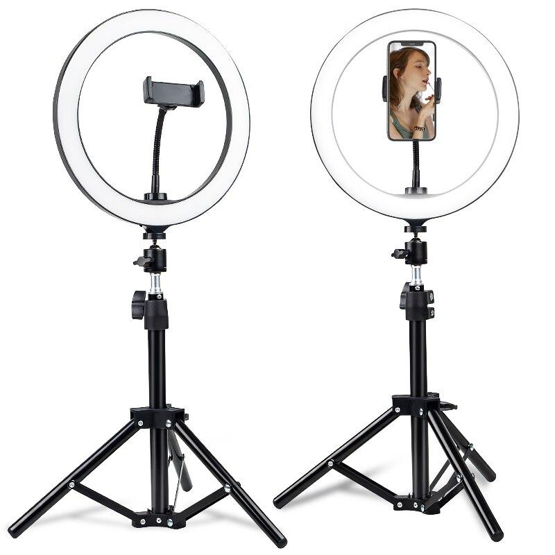 Anillo luz led con trípode selfie anillo luz con soporte de teléfono celular selfie anillo luz clip led video luz regulable