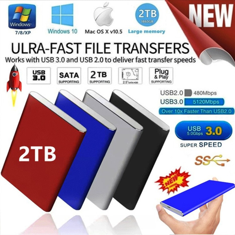 Portable 2TB External Hard Drive Portable HDD USB 3.0 for PC, Mac, PS4, & Xbox - 1-Year Rescue Service