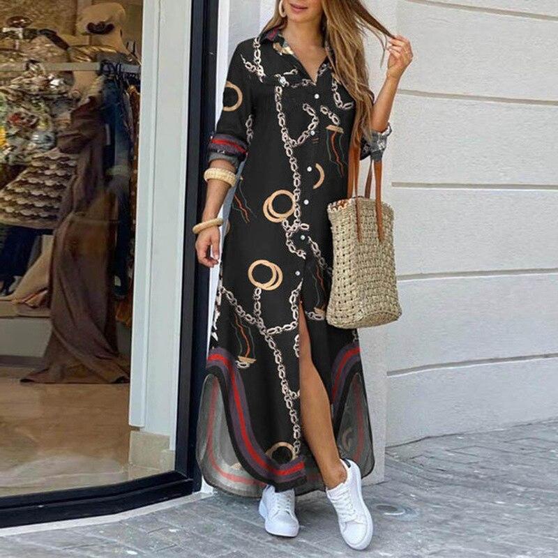 Женское платье рубашка с длинным рукавом, Осеннее длинное платье с принтом, свободный вечерние ний сарафан с отложным воротником