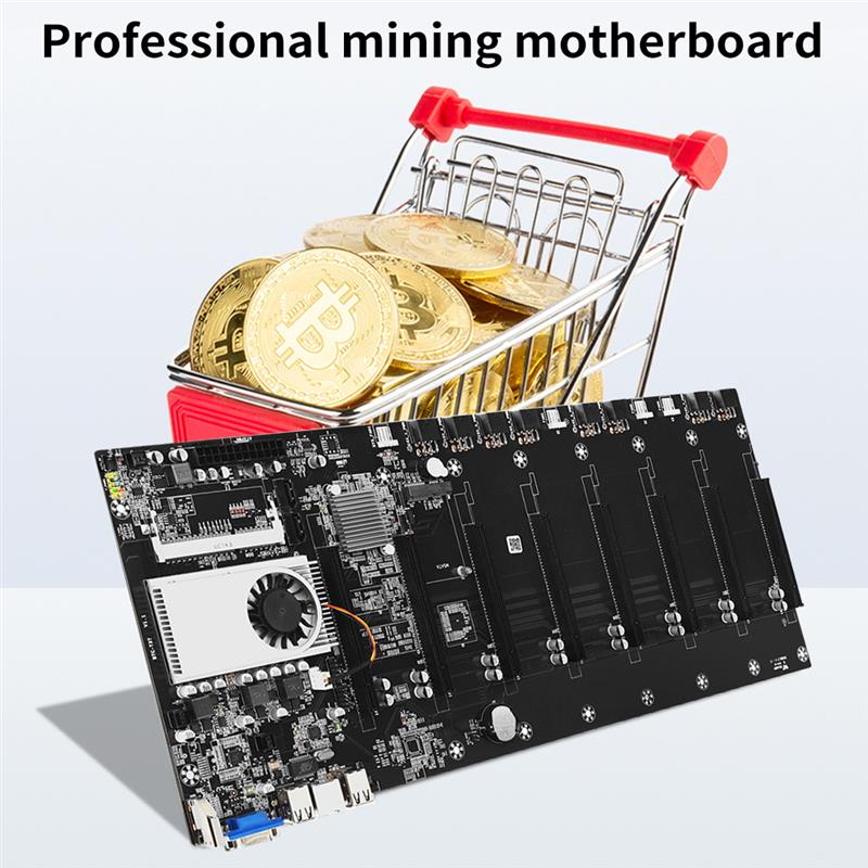 Mining Motherboard SATA 3.0 8 GPU PCI-E 16X Motherboard with USB 2.0 DDR3 Memory Slots Computer Parts  fan interface for cooling