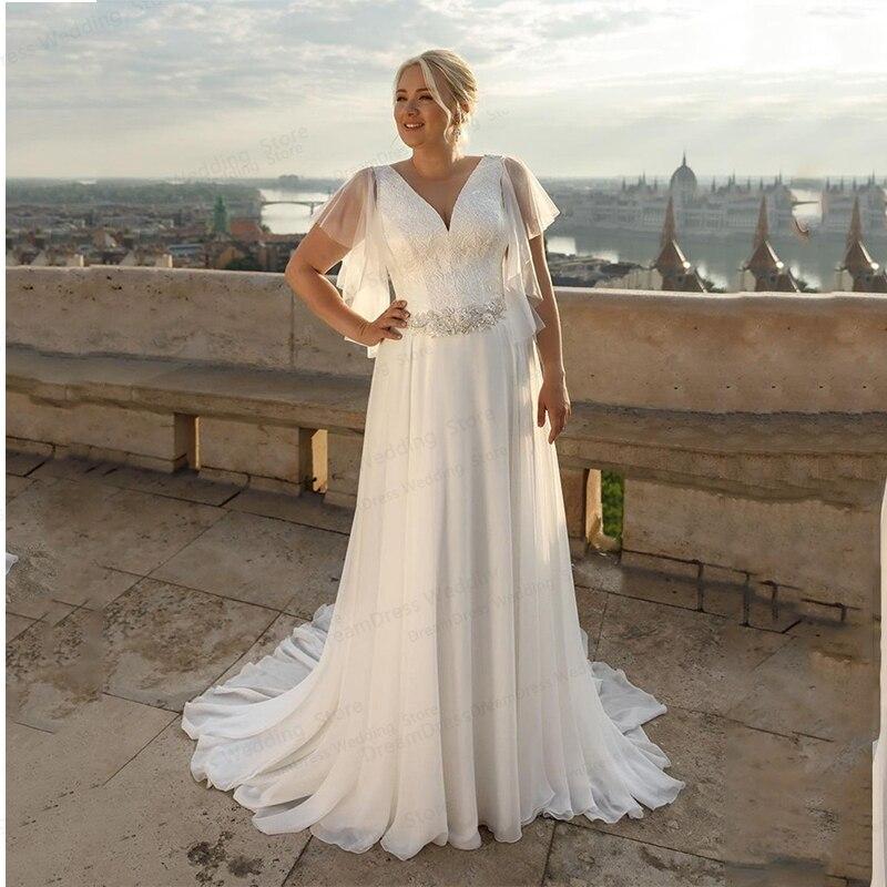 Promo Plus Size Wedding Dress 2021 A-Line V-Neck Short Sleeve Boho Chiffon With Belt Large Size Custom Made Bridal Gown Robe De Mariee