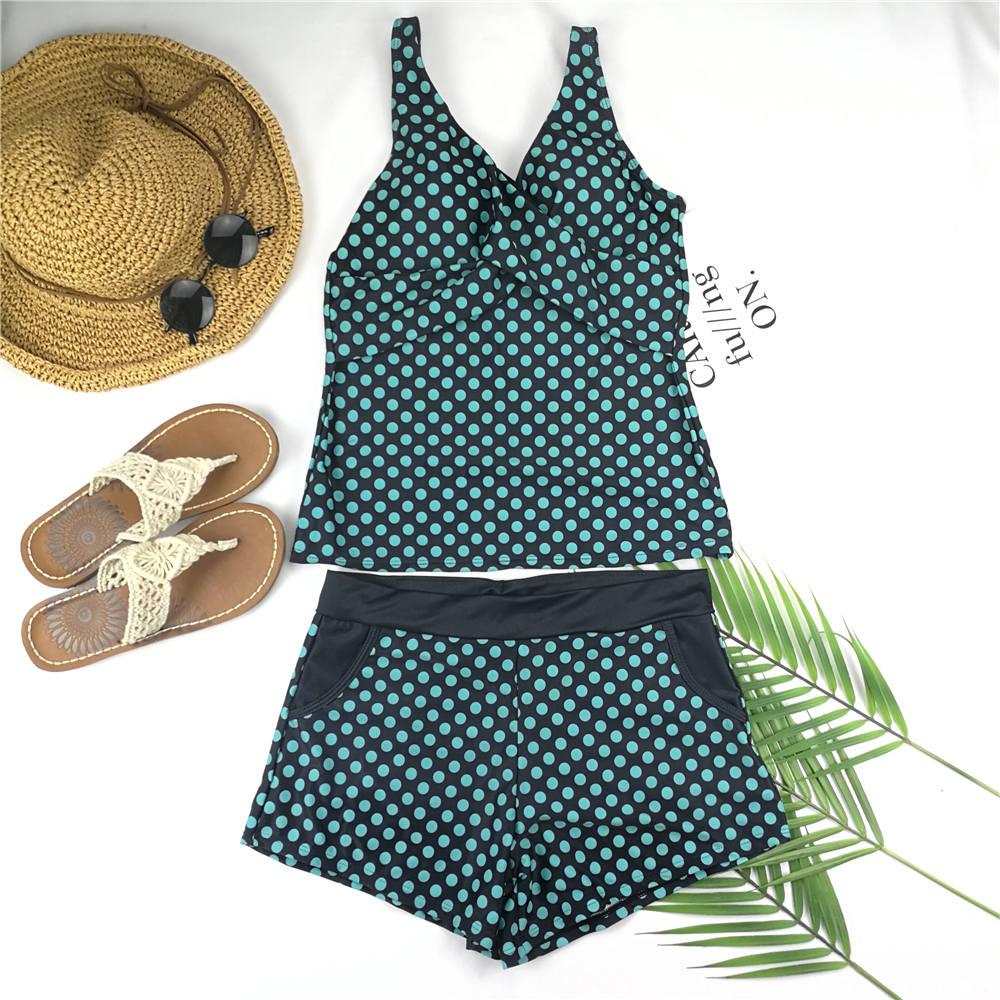 2020 Two Piece Swimsuit Bikini Swimwear Women Shorts Polka Dots Tankini Push Up Swimsuit Plus Size Bathing Suit High Waist Beach
