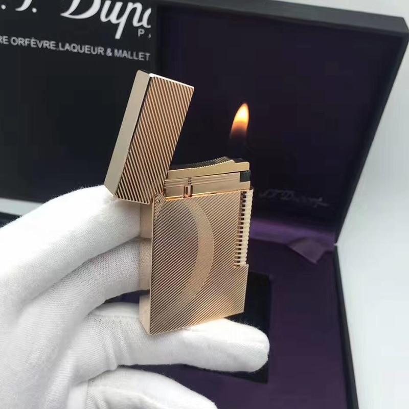 100% New vintage dupont bright sound gas lighter windproof copper body for cigarette enlarge