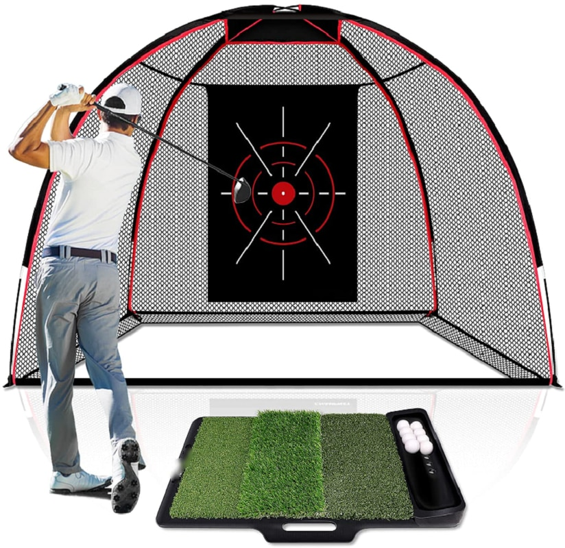 ENHUA  10' x 7' Golf Hitting Net with Golf Hitting Mat | 5 Ply-Knotless Netting with Impact Target Golf Driving N
