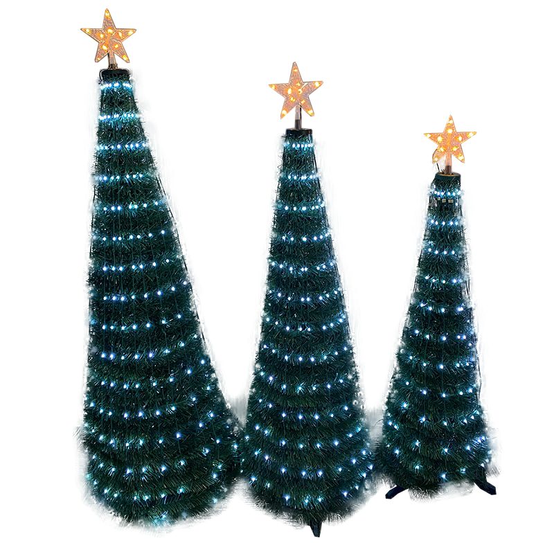 HY Other Pre Lit Pop Up Christmas 1.2m 1.5m 1.8m Artificial Xmas Tree Green Folding Flat Festive Home Decoration Whit Led