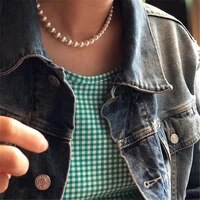 ins european and american simple necklace elegant temperament buckle gradient size highlight pearl clavicle chain choker woman