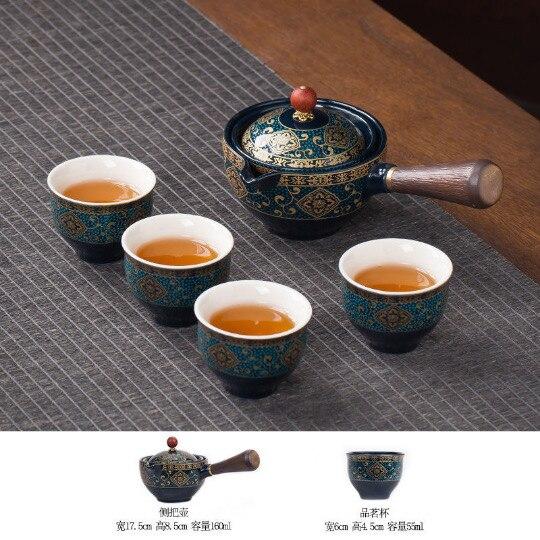 المحمولة زهرة رائعة الصينية Gongfu الكونغ فو طقم شاي إبريق شاي من السيراميك مقبض خشبي الجانب مقبض وعاء كوب teبينة دروبشيبينغ