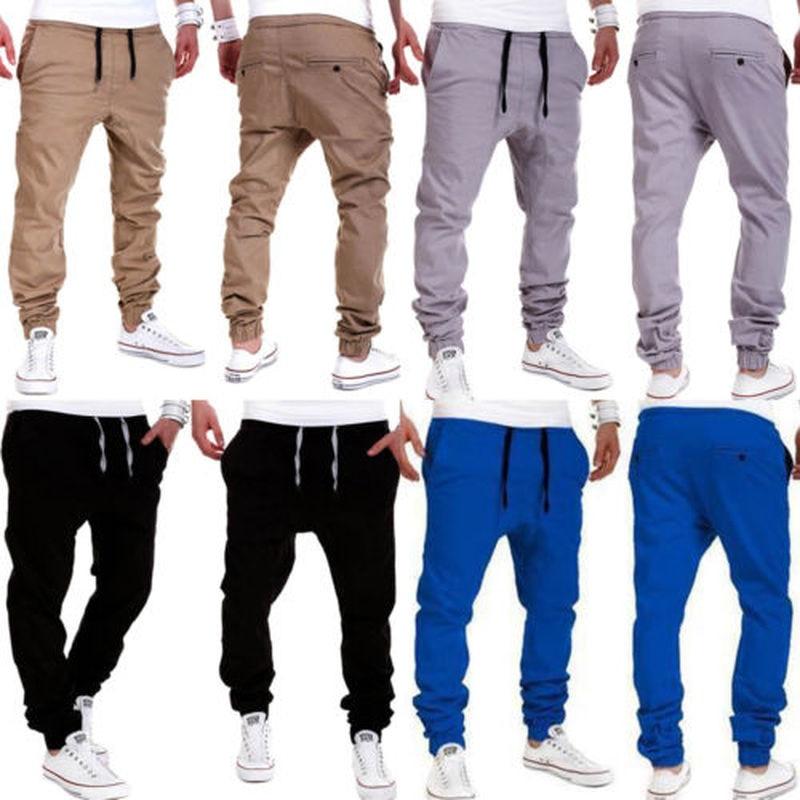 Mens Harem Pants Tracksuit Sports Elastic Waist Jogging Workout Stretch Casual Trousers Plus Size