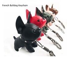 Mini Bulldog Puppy Keychains Faux Leather Doll Key Rings Hanging Pendant Key Holder Charm Bags Decor Car Trinket Punk Chaveiros