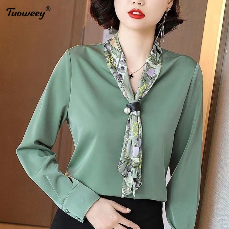 Fashion Bow Stitching Simple Style Loose Pullover Chiffon Long-sleeved Scarf Collar Printed Shirt Female Blouses Women Spring