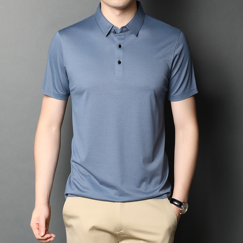 2021 summer men's new silk short sleeve T-shirt for young and middle-aged men's casual loose Lapel thin T-shirt