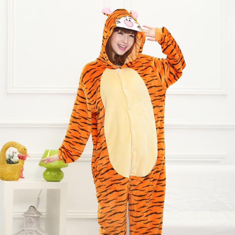 Cartoon Tiger Sleepwear Animal Kigurumis Unisex Women Adult Onesie Funny Outfit Halloween Party Jumpsuit Soft Warm Home Overalls