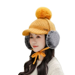 New Winter Earflap Beanie Hat For Women Spring Cotton Knitted Baseball Cap With Pompon Brand Visor Caps Ladies Skullies Beanies