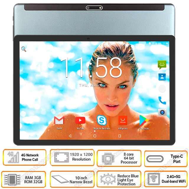 2020 nuovo 5G wifi tablet 10 pollici Octa Core Android 9.0 3GB di RAM 64GB ROM 1920x1200 HD Schermo 8.0MP Telecamere 4G LTE Telefono tablet GPS