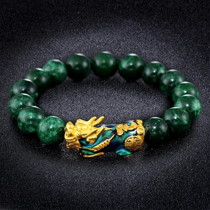 Золотой браслет PIXIU для женщин и мужчин, зеленый браслет с бусинами для пары, подарит удачу, смелое богатство, браслеты Feng Shui для мужчин