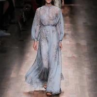 womens dress 2021 new ladies blue printed chiffon lantern sleeve long dress summer free shipping