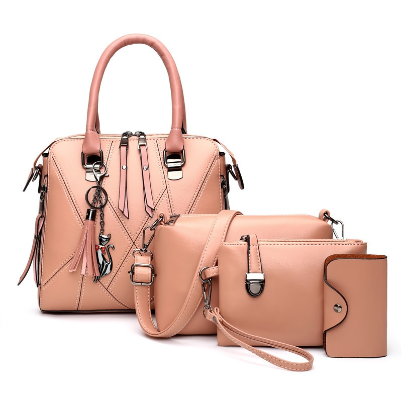 famous brand women composite bag top handle bags fashion lady shoulder bag handbag set pu leather bag women s handbags 4pcs set 4Pcs Winter New Tassel Handbag Women PU Leather Shoulder Bag Designer Messenger Bag Lady Top-handle Bag Shopping Pouch