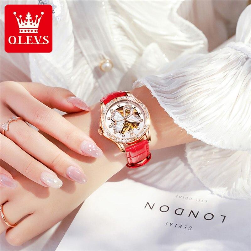 OLEVS Butterfly Mechanical Women Watch Fashion Luxury Brand Ladies Automatic WristWatch Leather Hollow Design Montre Femme 6622 enlarge