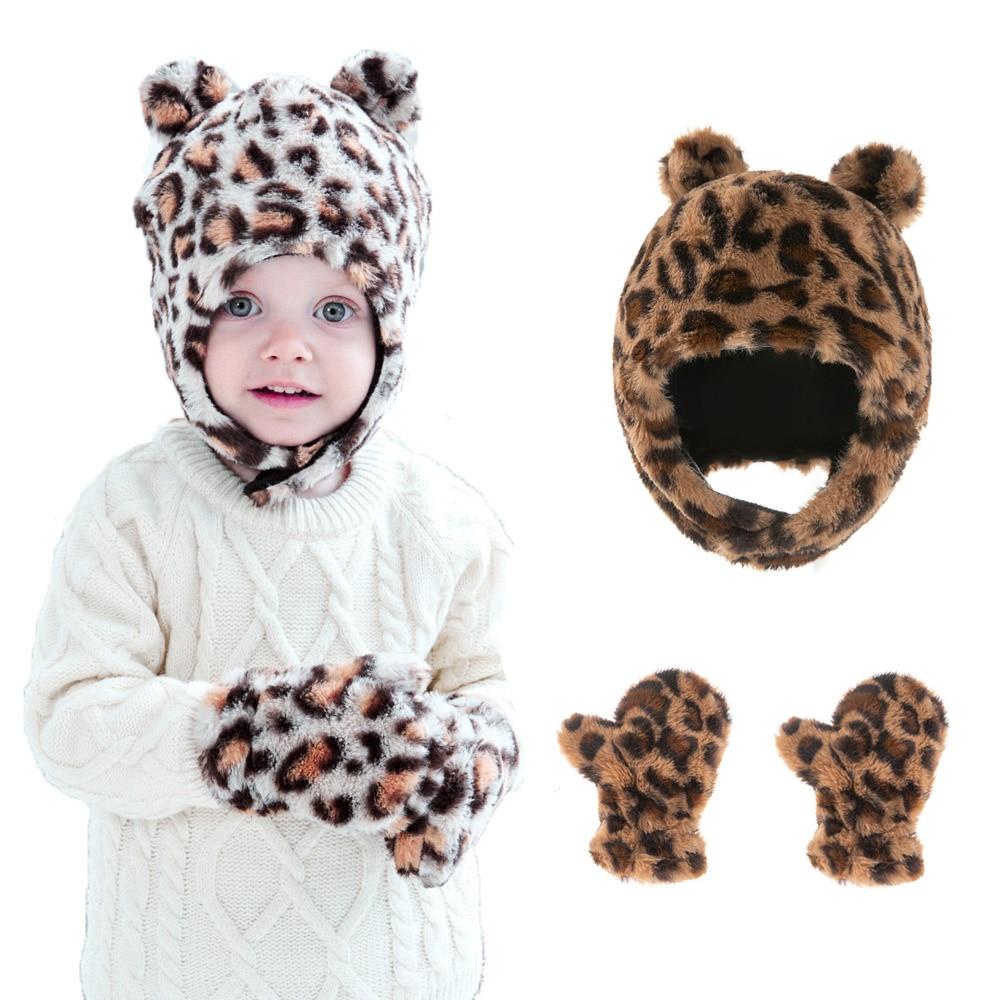 Leopard Winter Baby Hat Soft Faux Fur Warm Cap Gloves Cute Protect Ears Boys Hats Toddler Kids Beani