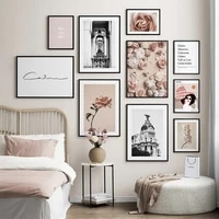 landscape elegant flowers roses poster print nordic rome city wall art canvas painting quotes picture modern home decoration