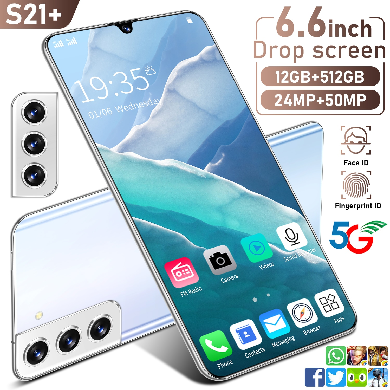S21 + 6.6 بوصة شاشة قطرة 10 الأساسية الوجه بصمة معرف هاتف ذكي عالمي 5G شبكة 6000MAH Andriod 12 + 512GB MTK6889 المزدوج سيم