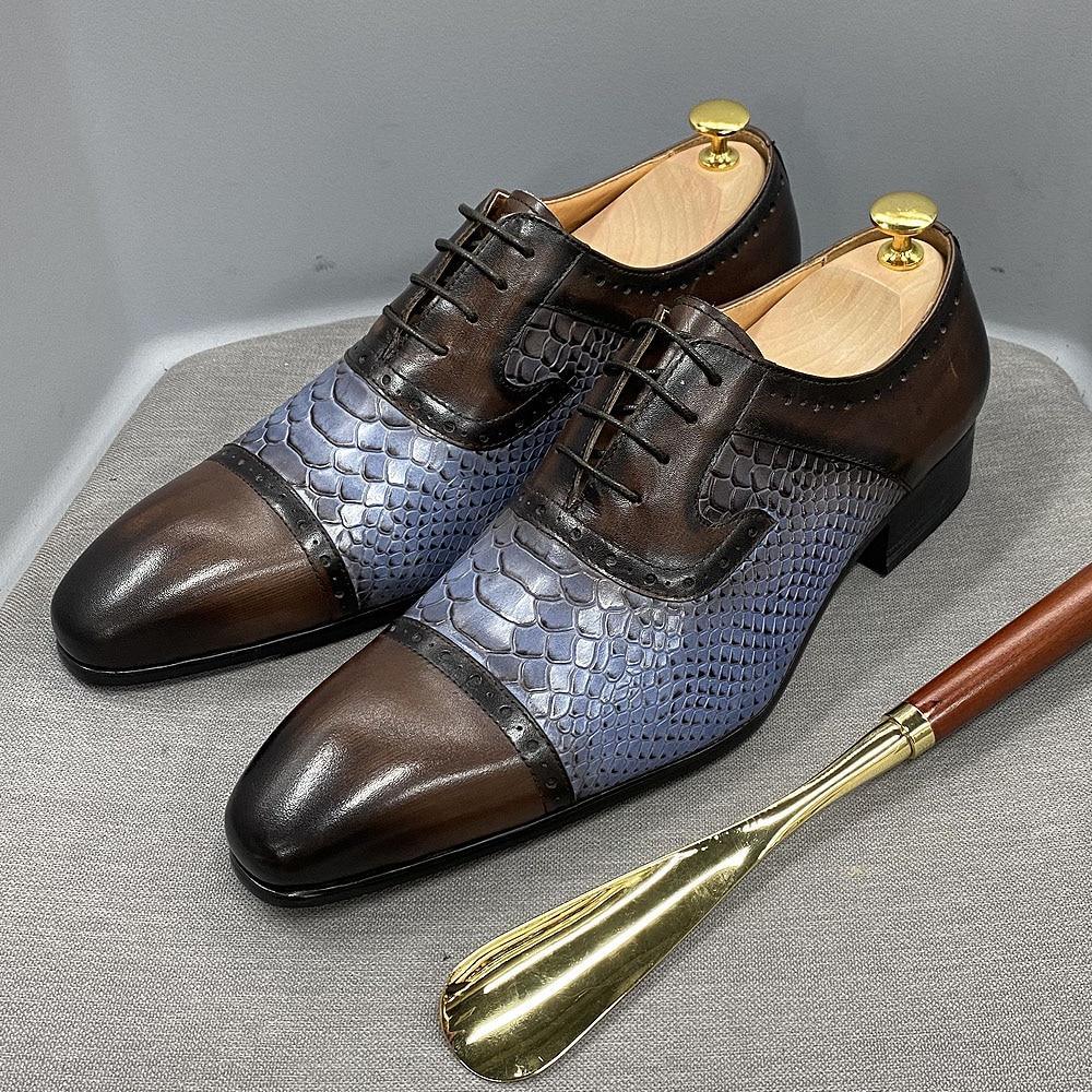 دانيال ويفر جلد البقر الحقيقي الرجال فستان أحذية اليدوية الدانتيل يصل أكسفورد الأفعى طباعة أشار تو أحذية الحفلات الرسمية للرجال
