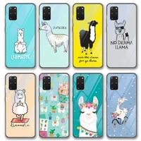 alpaca cute glass case for samsung galaxy s21 a51 s20 a50 a71 a70 s10 s9 s8 a21s m31 s10e a20 a30 note 20 10 9 8 lite plus ultra