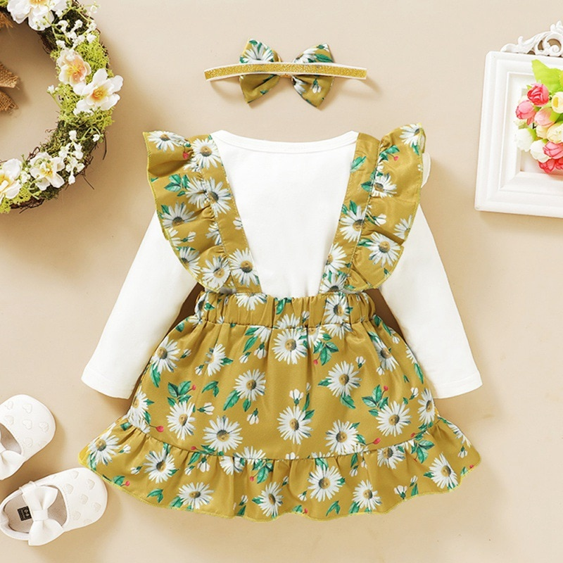 Autumn Baby Girl Casual Clothging Suit Infant Kids Long Sleeve Letters Pattern Romper+Floral Strap S