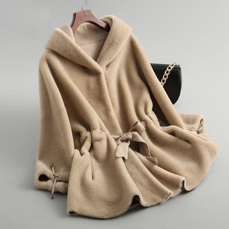 Mulheres inverno com capuz casaco de pele real feminino natural ovelhas tosquiamento casacos de pele senhoras casual quente casaco de pele de cordeiro com cinto y121