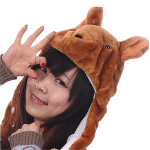 JOYHY Kids Girs Boy Cute Plush Earflap Brown Kangaroo Animal Hats Teenagers Winter Warm Beanie Cap Hats Christmas New Year Gift