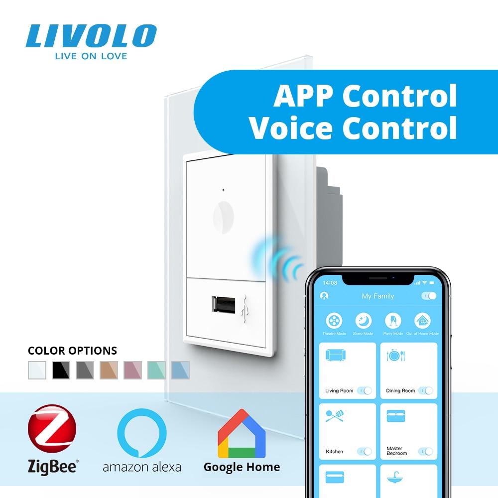 Interruptor táctil de pared estándar Sur Livolo S5, control inalámbrico de aplicación wifi inteligente de 2 vías, cristal blanco, llave de plástico, con enchufe usb